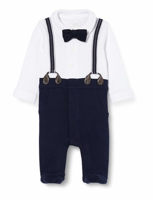 Mamas and Papas Baby Boys' Mock Braces Shirt & Trouser with Bow Tie All-in-One Romper