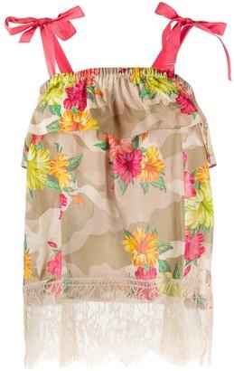 Twin-Set Hibiscus-Print Ruffled Top