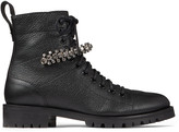 Jimmy Choo CRUZ FLAT Black Grainy Leather Combat Boots with Crystal Detail