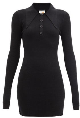 JoosTricot Ribbed Cotton-blend Polo Dress - Black