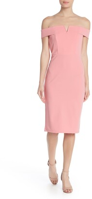 Love by Design Off-the-Shoulder Wired Notch Midi Dress