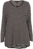 Dorothy Perkins **DP Curve Monochrome Stripe Extreme Dip Back Tee