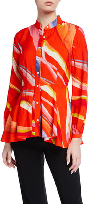 Natori Watercolor Stripe Printed Blouse