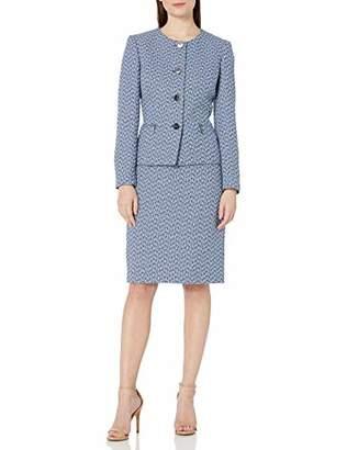 Le Suit Women's Plus Size 4 Button Jewel Neck Chevron Zipper Pocket Tweed Skirt Suit