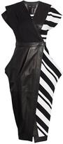 Proenza Schouler Knit-Combo Leather Wrap Dress