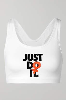 Nike Rebel Swoosh Printed Dri-fit Sports Bra - White