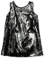 Milly Minis Kat Sequin Bow-Back Shift Dress, Size 4-7