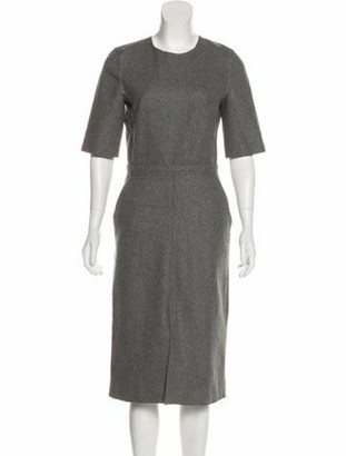Victoria Beckham Wool Midi Dress Grey
