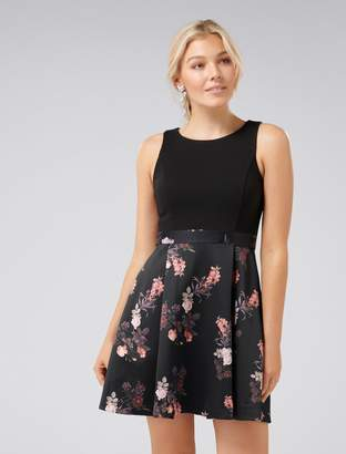 Forever New Laura Petite Two-in-One Prom Dress - Black Botanical - 14