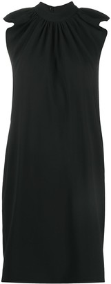 Victoria Victoria Beckham Gathered-Neck Flutter-Sleeved Shift Dress