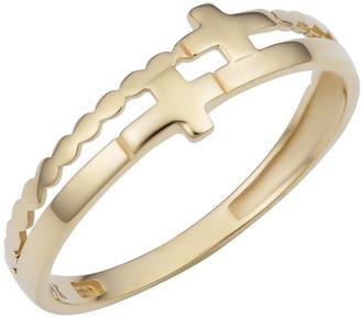 Fremada 14k Yellow Gold Double Cross Ring