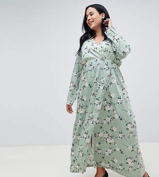Yumi Plus plus 3/4 sleeve floral wrap maxi dress-Multi
