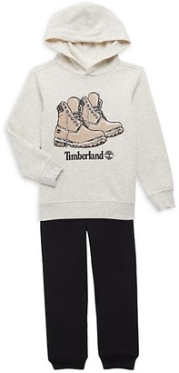 Timberland Little Boy's Cotton-Blend Graphic Logo Hoodie & Jogger Pants Det