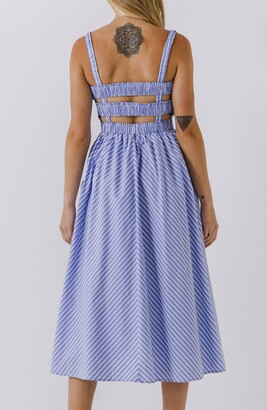 ENGLISH FACTORY Sleeveless Stripe Midi Dress
