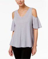 Calvin Klein Pleated-Back Cold-Shoulder Top