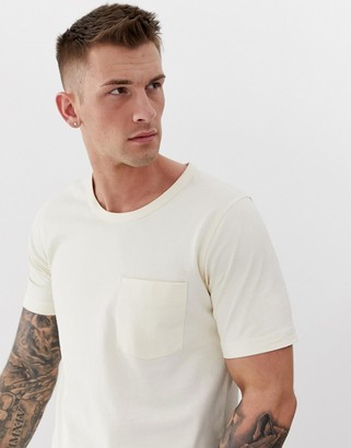 Selected boxy fit one pocket t-shirt in lemon-White