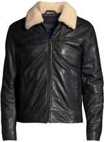 John Varvatos Sheldon Shearling Collar Leather Jacket