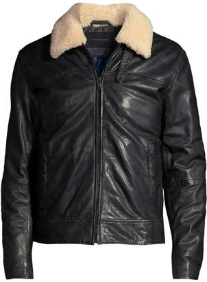 John Varvatos Sheldon Shearling Collar Leather Jacket
