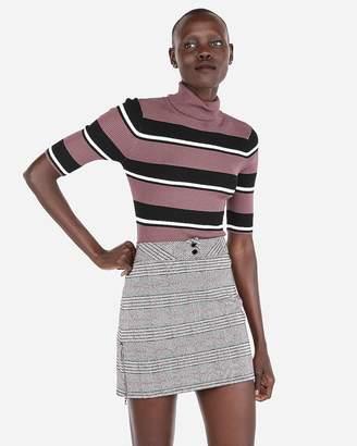 Express Stripe Ribbed Elbow Sleeve Turtleneck Sweater