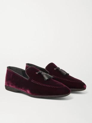 Paul Stuart Hope Leather and Grosgrain-Trimmed Velvet Tasselled Slippers - Men - Burgundy