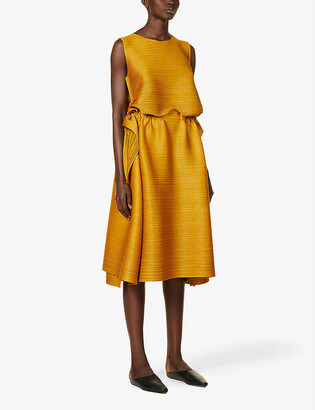 Pleats Please Issey Miyake Dive boat-neck knitted jersey midi dress