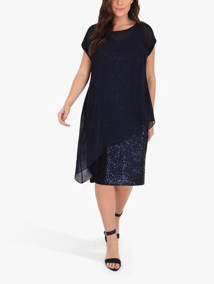 Live Unlimited Curve Chiffon Sequin Asymmetric Dress, Navy