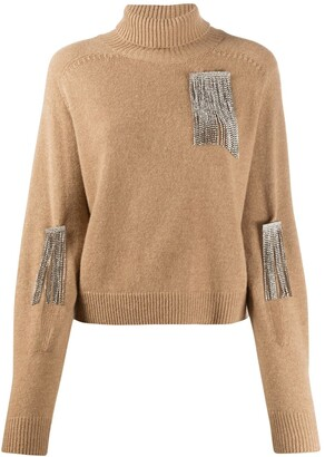 Christopher Kane Rhinestone Applique Turtleneck Jumper