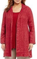 Eileen Fisher Plus Notch Collar Long Jacket