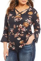 Blu Pepper Plus 3/4 Sleeve Floral Print Top