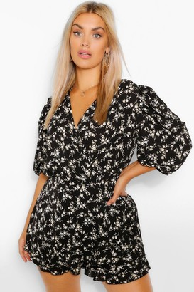 boohoo Plus Ditsy Floral Puff Sleeve Ruffle Playsuit