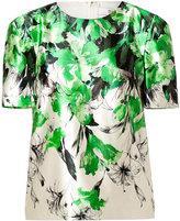 Prabal Gurung Silk-Cotton Sculpted Shoulder Top in Green/White