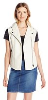 Calvin Klein Jeans Women's Bubbled Faux Leather Vest with Suede Tri