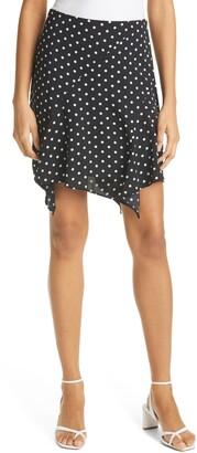 Milly Laura Dot Print Uneven Hem Skirt