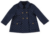 Mayoral Twill Polka-Dot Double-Breasted Raincoat, Blue, Size 3-7