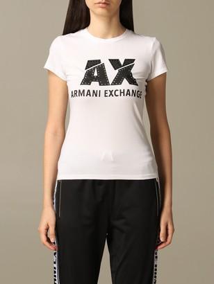 Armani Collezioni Armani Exchange T-shirt Armani Exchange T-shirt With Rhinestone Logo