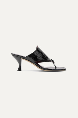 STAUD Keith Croc-effect Leather Mules - Black