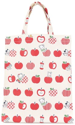 Familiar Apple Print Shopper Tote