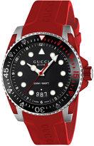 Gucci Men's Swiss Dive Red Rubber Strap Watch 40mm YA136309