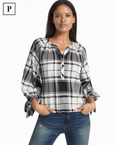 White House Black Market Petite Black & White Plaid Popover Blouse