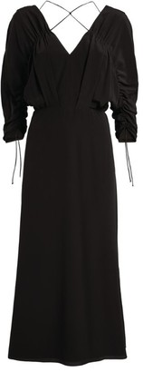Victoria Beckham Silk Crossover Neck Midi Dress