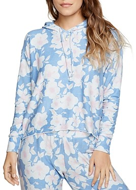 Chaser Cropped Floral Print Hoodie