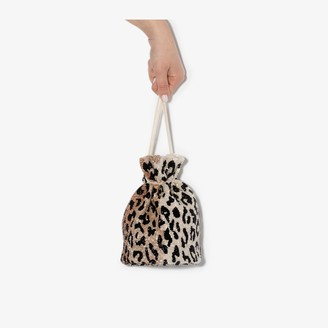 Ganni Multicoloured Leopard Print Beaded Bucket Bag