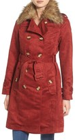 Steve Madden Women's Faux Suede Trench Coat With Faux Fur Collar