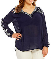 Peter Nygard Plus Embriodered Peasant Top