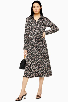 Lace & Beads Womens **Black Floral Ruffle Shirt Dress By Black