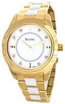 Bulova 98P137 Two-Tone White & Gold Band Diamond Dial Womens Watch