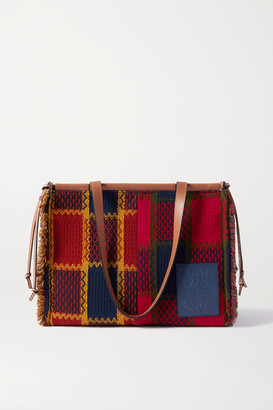 Loewe Cushion Leather-trimmed Frayed Checked Tweed Tote - Red