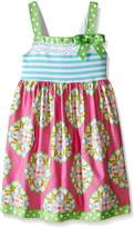 Bonnie Jean Little Girls' Toddler Knit Stripe to Poplin Printed Skirt Dress