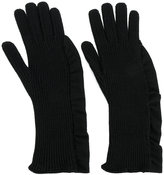 Laneus ruched detail gloves