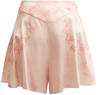 Hillier Bartley Floral-print Silk Shorts - Womens - Pink Print